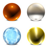 Orb Collection #3. Collection of 4 Three Dimensional Spherical Orbs Stock Photography