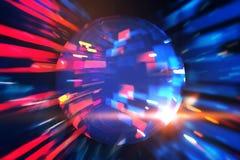 Orb in een rode en blauwe wormholeinterface 3D Illustratie royalty-vrije illustratie