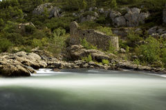 The Orb River. The fast flowing waters of the River Orb in France Royalty Free Stock Photos