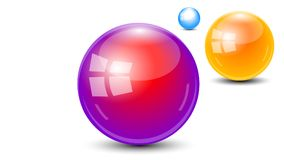 3 orb Sphere ball 3d vector. This is a 3 orb Sphere ball 3d vector with a gold, purple and blue color Stock Photography