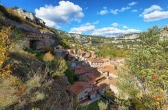 Orbaneja del Castillo in Burgos province, spain. Orbaneja del Castillo, one of the most beautiful villages in Spain stock photos