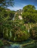 Orbaneja. View to the waterfall of Orbaneja del Castillo, Burgos, Spain Royalty Free Stock Photos