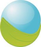 Orbe azul con la hoja stock de ilustración