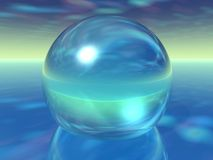 Orbe de cristal en la atmósfera surrealista ilustración del vector