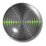 Orbe del botón de las ondas acústicas Fotos de archivo