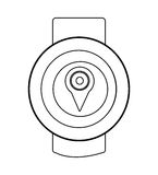 Orbed watch with media icon on the screen,  graphic Stock Images