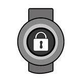 Orbed watch with media icon on the screen,  graphic Royalty Free Stock Images