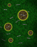 Orbes de los datos binarios que flotan un vórtice digital Imagen de archivo libre de regalías