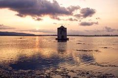 Orbetello laguny zmierzch, Tuscany zdjęcia stock