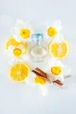 Orbicular doftflaska för bästa sikt som omges av nya påskliljablommor och citronskivor, och kanelbruna pinnar som isoleras på vit Arkivbild