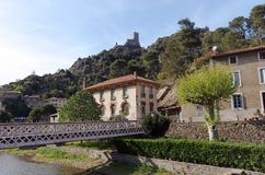 Orbiel river and Lastours village in cathar mountain. Orbiel river and old tower in Lastours village stock photo