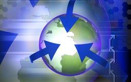 Orbit arrows rotating earth. Digital illustration of orbit arrows rotating earth in colour background Stock Photography