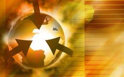 Orbit arrows rotating earth. Digital illustration of orbit arrows rotating earth Royalty Free Stock Photography