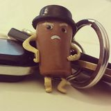 Orbit coffee cup keyring toy. Im not leaving! Ill Orbit your keychain. Set of key with garage remote Royalty Free Stock Photo