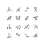 Orbit communication satellite vector line icons Royalty Free Stock Photo