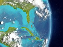 Orbit view of Bahamas in red stock photography