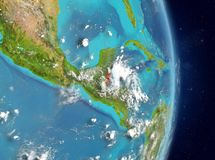 Orbit view of Belize in red stock photography