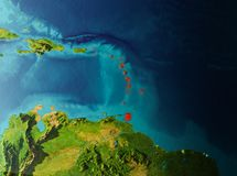 Orbit view of Caribbean vector illustration