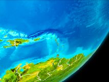 Orbit view of Caribbean. Map of Caribbean in red as seen from space on planet Earth with white borderlines. 3D illustration. Elements of this image furnished by Royalty Free Stock Photos
