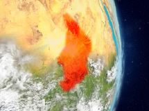 Orbit view of Chad in red royalty free stock images