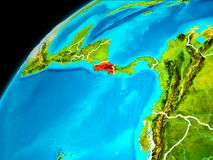 Costa Rica from space. Orbit view of Costa Rica highlighted in red with visible borderlines on planet Earth. 3D illustration. Elements of this image furnished by Stock Image