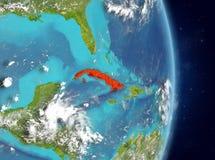Orbit view of Cuba in red stock image