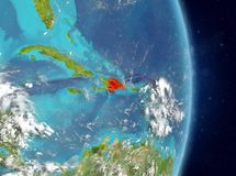 Orbit view of Dominican Republic in red. Space view of Dominican Republic highlighted in red on planet Earth with atmosphere. 3D illustration. Elements of this Royalty Free Stock Photos