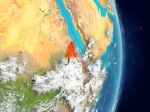 Orbit view of Eritrea in red royalty free stock photography