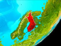 Orbit view of Finland. Map of Finland in red as seen from space on planet Earth with white borderlines. 3D illustration. Elements of this image furnished by NASA Stock Images