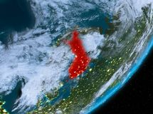 Orbit view of Finland at night. Finland from orbit of planet Earth at night with highly detailed surface textures and clouds. 3D illustration. Elements of this Stock Photo