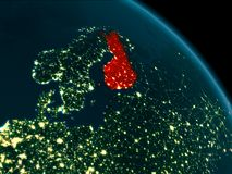 Night view of Finland on Earth. Orbit view of Finland at night highlighted in red on planet Earth with highly detailed surface textures. 3D illustration Royalty Free Stock Photos