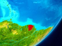 Orbit view of French Guiana in red. Map of French Guiana as seen from space on planet Earth. 3D illustration. Elements of this image furnished by NASA Stock Photography