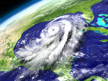 Orbit view of Hurricane Matthew. Huge hurricane Matthew in Caribbean approaching Florida in America. 3D illustration. Elements of this image furnished by NASA Royalty Free Stock Photo
