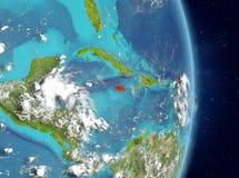 Orbit view of Jamaica in red stock photos