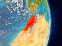 Orbit view of Morocco in red. Space view of Morocco highlighted in red on planet Earth with atmosphere. 3D illustration. Elements of this image furnished by NASA stock photos