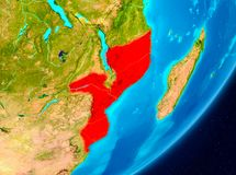 Orbit view of Mozambique in red. Map of Mozambique as seen from space on planet Earth. 3D illustration. Elements of this image furnished by NASA Stock Photography
