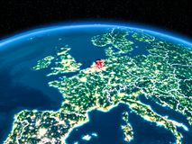 Netherlands from space at night royalty free stock photography