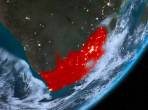 Orbit view of South Africa at night. South Africa from orbit of planet Earth at night with highly detailed surface textures and clouds. 3D illustration. Elements Royalty Free Stock Photo