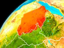 Sudan from space. Orbit view of Sudan highlighted in red with visible borderlines on planet Earth. 3D illustration. Elements of this image furnished by NASA Stock Photo