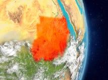 Orbit view of Sudan in red stock photo