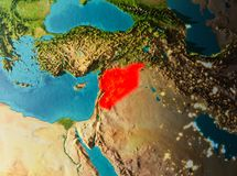Orbit view of Syria. Syria in early morning light highlighted in red on planet Earth. 3D illustration. Elements of this image furnished by NASA Royalty Free Stock Photography