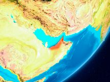 Orbit view of United Arab Emirates in red. Map of United Arab Emirates as seen from space on planet Earth. 3D illustration. Elements of this image furnished by Royalty Free Stock Image