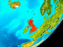 Orbit view of United Kingdom. Map of United Kingdom in red as seen from space on planet Earth with white borderlines. 3D illustration. Elements of this image Stock Photos