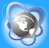 Orbita del satellite e del globo Fotografia Stock Libera da Diritti