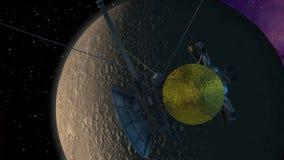 Orbita del veicolo spaziale che passa un pianeta del tipo di luna archivi video