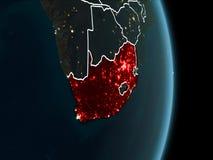 Orbita widok Południowa Afryka przy nocą Zdjęcia Stock