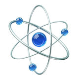 Orbital model of atom - physics 3D illustration Royalty Free Stock Photos