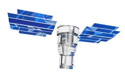 Orbital satellite of remote observation of the Earth surface, as well as communications. With large solar panels. Isolated on stock photos