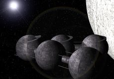 Orbital station. Around an unknown planet Royalty Free Stock Image