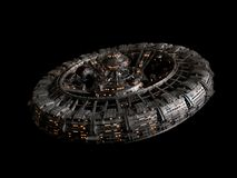Futuristic space station isolated on black background, high detail spaceship disc 3d science fiction rendering royalty free illustration